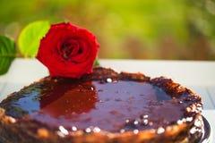 烘烤brwon与一朵红色玫瑰的巧克力蛋糕 免版税库存图片