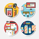 烙记的,例证,包装,网络设计平的设计 免版税库存图片