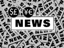 烙记的财务新闻世界 免版税库存图片