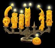 烛台和蜡烛为万圣夜 图库摄影