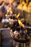 烛台Wat Phrathat土井泰国的素贴RajaWaraWihara 免版税库存照片