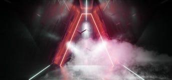 烟三角科学幻想小说霓虹发光的外籍人太空飞船黑暗的反射性光滑的充满活力的红色绝尘室霍尔走廊阶段隧道 库存例证