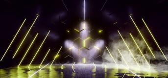 烟三角科学幻想小说霓虹发光的外籍人太空飞船黑暗的反射性光滑的充满活力的黄色蓝色彩虹室霍尔走廊阶段 皇族释放例证