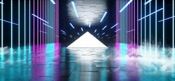 烟三角金字塔霓虹发光的科学幻想小说紫色蓝色未来派具体空的难看的东西反射性室充满活力的光谱 皇族释放例证