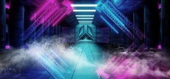 烟三角金字塔霓虹发光的科学幻想小说紫色蓝色未来派具体空的难看的东西反射性室充满活力的光谱 库存例证