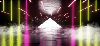烟三角金字塔霓虹发光的科学幻想小说红色绿色白色未来派具体空的难看的东西反射性室充满活力的光谱 库存例证