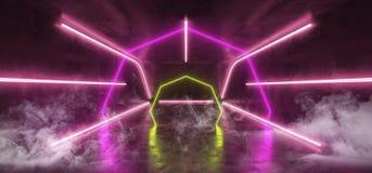 烟使萤光充满活力的霓虹未来派科学幻想小说发光的紫色黄色虚拟现实网络隧道具体难看的东西地板室模糊 向量例证