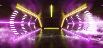 烟使萤光充满活力的霓虹未来派科学幻想小说发光的紫色黄色虚拟现实网络隧道具体难看的东西地板室模糊 皇族释放例证