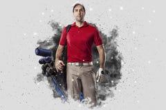 从烟出来的疾风高尔夫球运动员 免版税库存图片