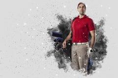 从烟出来的疾风高尔夫球运动员 免版税库存照片
