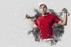 从烟出来的疾风高尔夫球运动员 库存图片