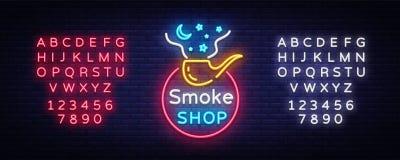 烟商店商标氖传染媒介 香烟商店霓虹灯广告,传染媒介设计模板在烟草题材的传染媒介例证 皇族释放例证