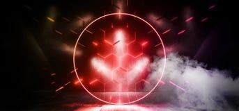 烟圈子科学幻想小说霓虹发光的外籍人太空飞船黑暗的反射性光滑的充满活力的黄色红色橙色室霍尔走廊阶段隧道 向量例证