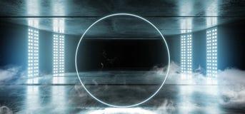 烟圈子霓虹虚拟现实黑暗的难看的东西混凝土背景涂柏油错觉萤光蓝色充满活力发光空 皇族释放例证