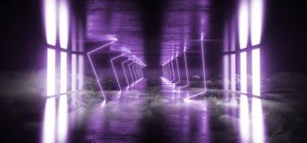 烟外籍人科学幻想小说现代未来派霓虹萤光虚拟现实三角在空的演播室塑造了蓝色紫罗兰色充满活力的光 向量例证