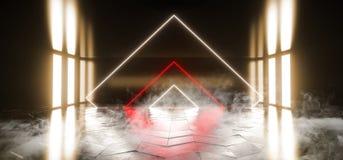 烟外籍人科学幻想小说现代未来派霓虹萤光虚拟现实三角塑造了在空的黄色红色橙色充满活力的光 库存例证