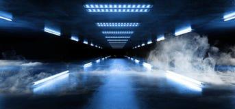 烟排行霓虹道路轨道发光的科学幻想小说紫色蓝色未来派具体空的难看的东西反射性室充满活力的光谱 向量例证