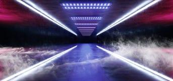烟排行霓虹道路轨道发光的科学幻想小说紫色蓝色未来派具体空的难看的东西反射性室充满活力的光谱 皇族释放例证