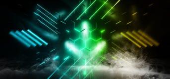 烟摘要科学幻想小说霓虹发光的外籍人太空飞船黑暗的反射性光滑的充满活力的绿色黄色蓝色室霍尔走廊阶段 向量例证