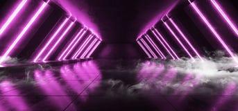 烟未来派科学幻想小说霓虹发光的紫色激光塑造了摘要真正萤光黑暗的光滑的充满活力的隧道走廊走廊 库存例证