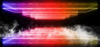 烟未来派科学幻想小说霓虹发光的紫色红色激光塑造了摘要真正萤光黑暗的光滑的充满活力的隧道走廊 向量例证