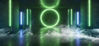 烟未来派科学幻想小说霓虹发光的蓝绿色激光塑造了摘要真正萤光黑暗的光滑的充满活力的隧道走廊 库存例证