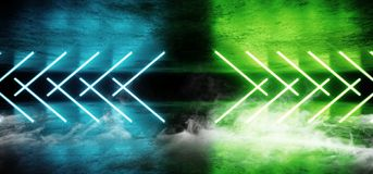 烟未来派科学幻想小说霓虹发光的蓝绿色激光塑造了摘要真正萤光黑暗的光滑的充满活力的隧道走廊 皇族释放例证