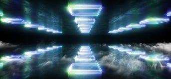 烟未来派科学幻想小说霓虹发光的蓝绿色激光塑造了摘要真正萤光黑暗的光滑的充满活力的隧道走廊 向量例证