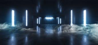烟未来派科学幻想小说霓虹发光的蓝色激光塑造了摘要真正萤光黑暗的光滑的充满活力的隧道走廊走廊 皇族释放例证