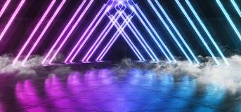 烟未来派科学幻想小说霓虹发光的蓝色紫色激光塑造了摘要真正萤光黑暗的光滑的充满活力的隧道走廊 向量例证
