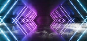 烟未来派科学幻想小说霓虹发光的蓝色紫色激光塑造了摘要真正萤光黑暗的光滑的充满活力的隧道走廊 库存例证