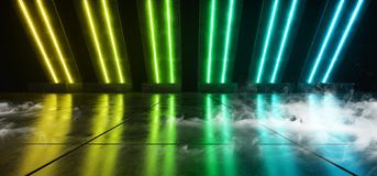 烟未来派科学幻想小说霓虹发光的黄色青绿的激光塑造了摘要真正萤光黑暗的光滑的充满活力的隧道 皇族释放例证