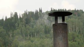 烟来自房子的铁烟囱 在树背景的烟囱 慢的行动 影视素材