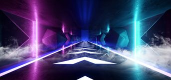 烟氖发光的荧光的充满活力的宇宙紫外萤光豪华光亮科学幻想小说未来派减速火箭的箭头垂直 库存例证