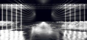 烟激光展示阶段霓虹减速火箭的现代科学幻想小说未来派典雅的未来具体走廊三角塑造黑暗的空的陈列室 向量例证