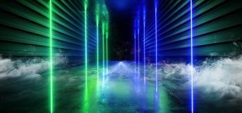 烟激光展示阶段霓虹减速火箭的现代科学幻想小说未来派典雅的未来具体走廊蓝绿色形状黑暗的空的陈列室 库存例证