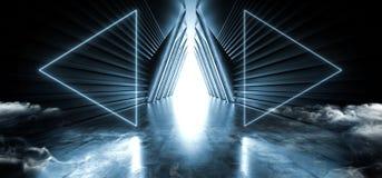 烟激光蓝色展示阶段霓虹减速火箭的现代科学幻想小说未来派典雅的未来具体走廊三角塑造黑暗倒空 向量例证
