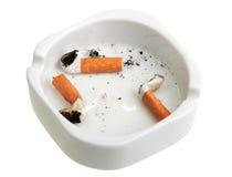烟灰缸接界组抽烟的白色 免版税图库摄影