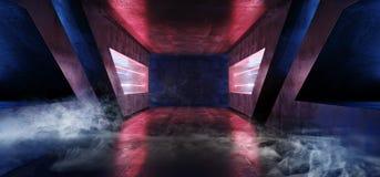 烟烟雾科学幻想小说未来派充满活力的红色紫色蓝色虚拟现实激光外籍人船空间空的黑暗的隧道走廊 向量例证