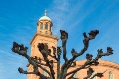 烟熏腊肠圣保罗教堂-圣保罗的教会法兰克福 免版税库存照片