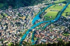 烟特勒根镇,瑞士 免版税库存照片