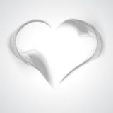 从烟的抽象灰色波浪背景心脏 免版税库存图片