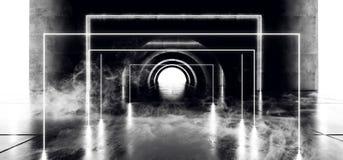 烟科学幻想小说圈子氖发光的充满活力的激光真正光白色萤光在具体难看的东西地下隧道白色 皇族释放例证
