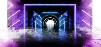 烟科学幻想小说圈子氖发光的充满活力的激光真正光紫色蓝色萤光在具体难看的东西地下隧道 皇族释放例证