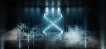 烟科学幻想小说未来派激光霍尔霓虹隧道道路轨道门入口聚光X塑造画廊的发光的蓝色充满活力的颜色 皇族释放例证