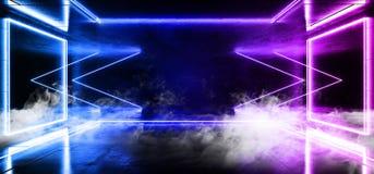 烟科学幻想小说箭头霓虹未来派蓝色紫色冷的俱乐部阶段室霍尔展示充满活力的虚拟现实激光被带领的光 向量例证