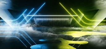 烟科学幻想小说萤光充满活力的三角塑造了在巨大的黑暗的水泥混凝土难看的东西地下的霓虹发光的蓝绿色光 向量例证