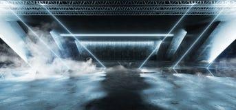 烟科学幻想小说萤光充满活力的三角塑造了在巨大的黑暗的水泥混凝土难看的东西地下车库的霓虹发光的蓝色光 皇族释放例证