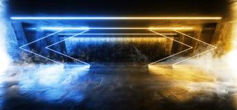 烟科学幻想小说萤光充满活力的箭头塑造了在巨大的黑暗的水泥混凝土难看的东西地下的霓虹发光的蓝色黄灯 皇族释放例证
