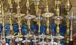 水烟筒在开罗义卖市场 免版税库存照片